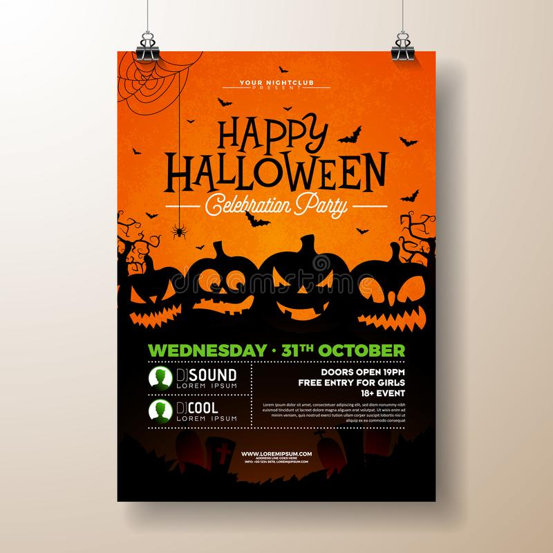 Free Halloween Party Flyer Vector Illustration With Scary Faced Pumpkins On Orange Background. Holiday Design Template With Stock Images - 127117244