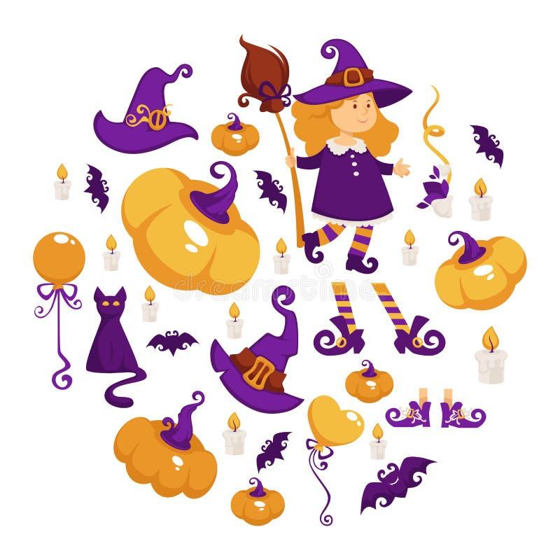 Halloween-Party-Girl im Hexenkostüm Süßes sonst gibt's Saures vektor abbildung
