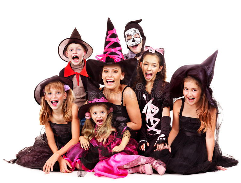 Halloween party with group kid holding carving pumpkin. stock photo