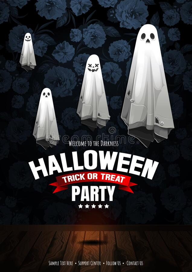 Halloween Party 52. Halloween Party, Ghost, treat or trick, Vector illustration, Vertical Poster royalty free illustration