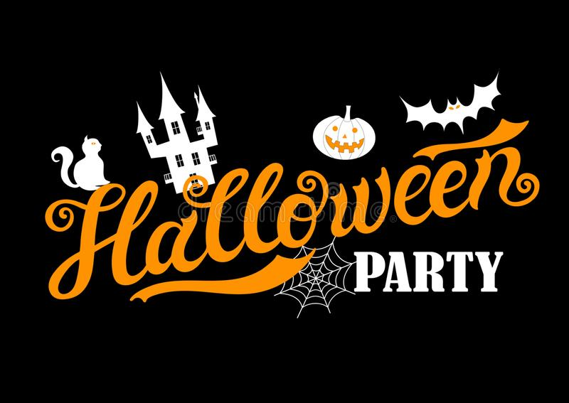 Halloween Party. Hand drawn lettering and illustration. Vector illustration. Best banner for Halloween party royalty free illustration