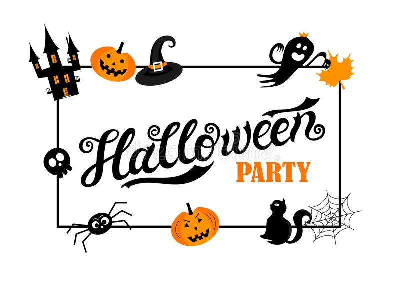 Halloween Party. Hand drawn lettering and illustration. Vector illustration. Best banner for Halloween party vector illustration