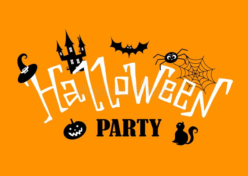 Halloween Party. Hand drawn lettering and illustration. Vector illustration. Best banner for Halloween party stock illustration