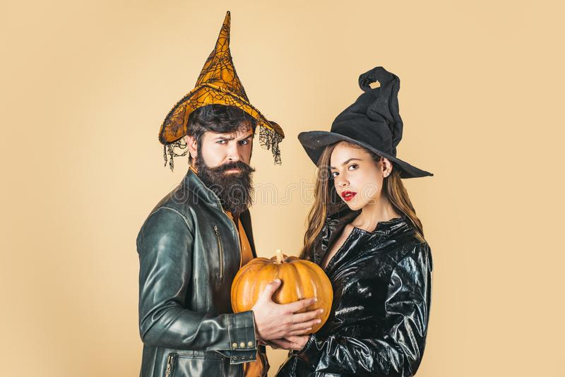 Halloween party and holiday concept. Trick or treat. Happy family celebrating for Halloween. royalty free stock photo
