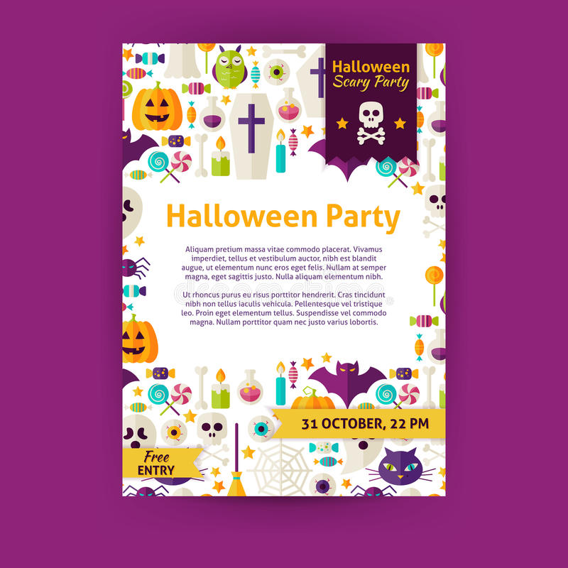 Halloween party holiday vector invitation template flyer stock halloween party holiday invitation template flyer flat design vector illustration of brand identity for halloween promotion stopboris Image collections
