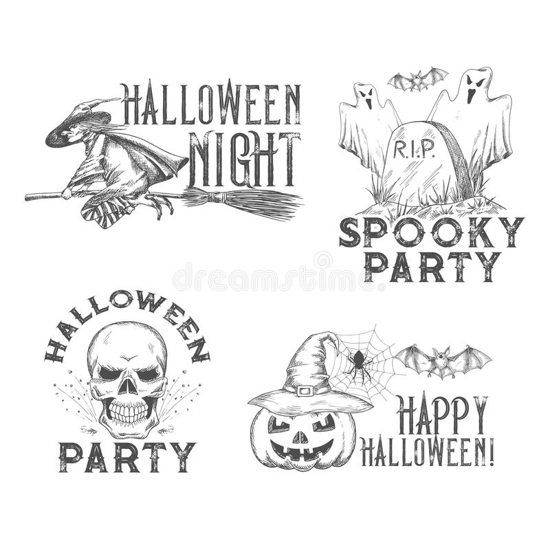 Halloween vector sketch icons for holiday night vector illustration