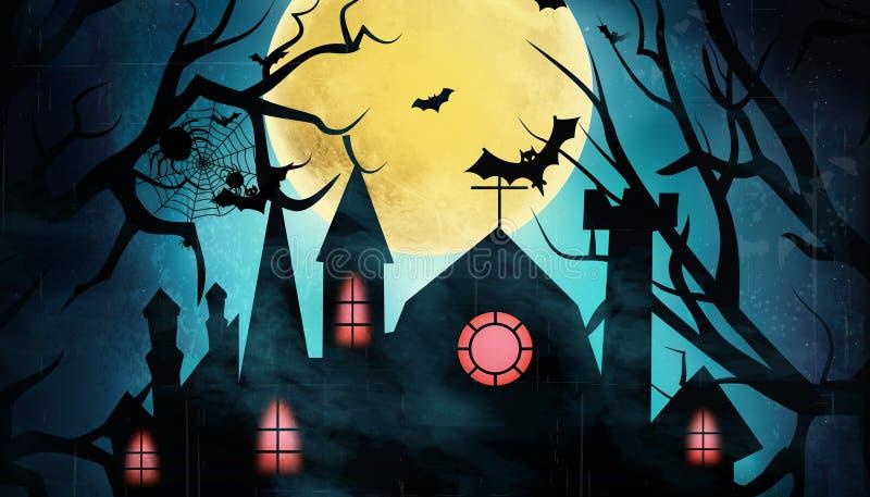 Halloween party house photo illustration background vector illustration