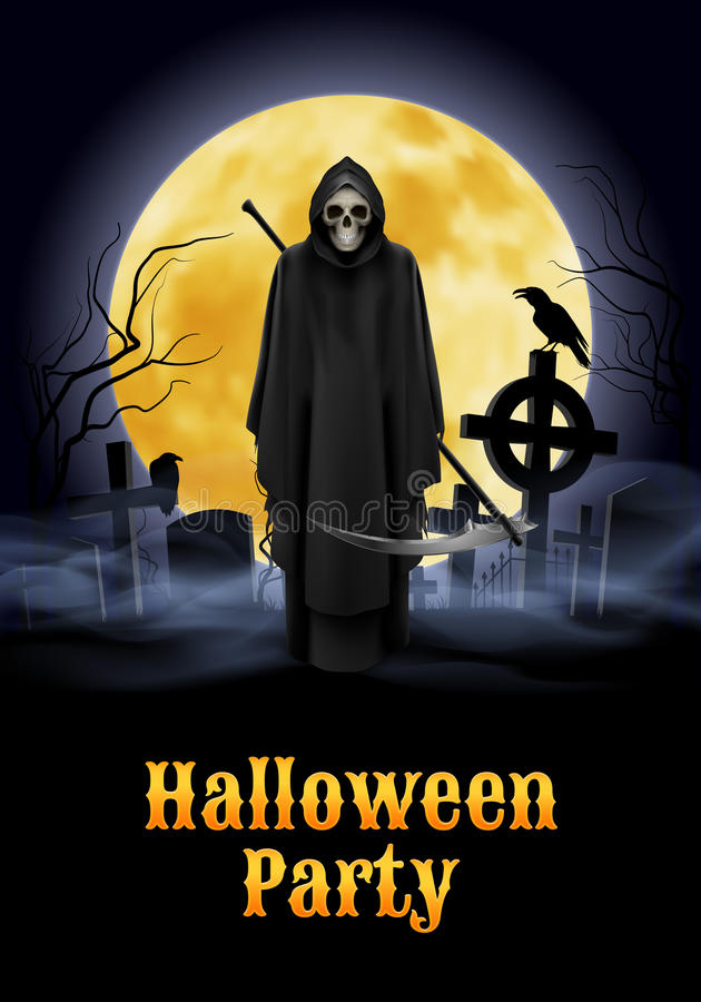 Halloween party illustration. Silhouette of black scary scytheman standing on ancient necropolis with crosses over night sky and yellow moon vector illustration