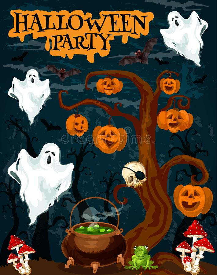 Free Halloween Party Invitation Banner With Fear Ghost Royalty Free Stock Images - 122521289