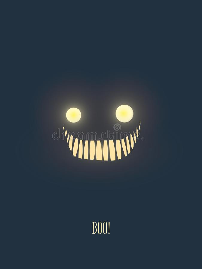 Halloween party invitation card template with scary but friendly monster face glowing in the dark night. royalty free illustration