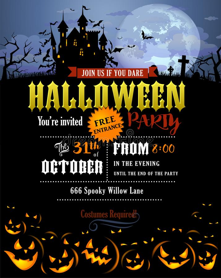 Halloween party invitation with Dracula castle stock illustration