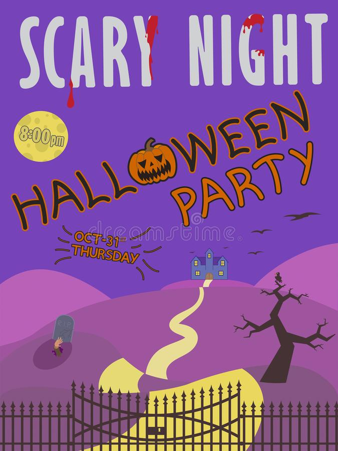 Halloween party invitation with haunted house and tombstone on the yard royalty free stock photography