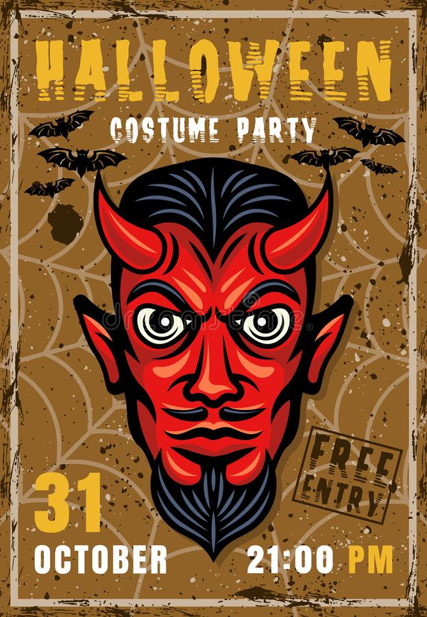 Halloween party invitation poster with devil head vector illustration