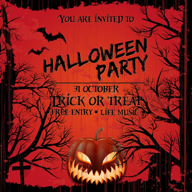 Halloween party invitation poster template with scary pumpkin, graveyard and place for text.Grunge style vector illustration