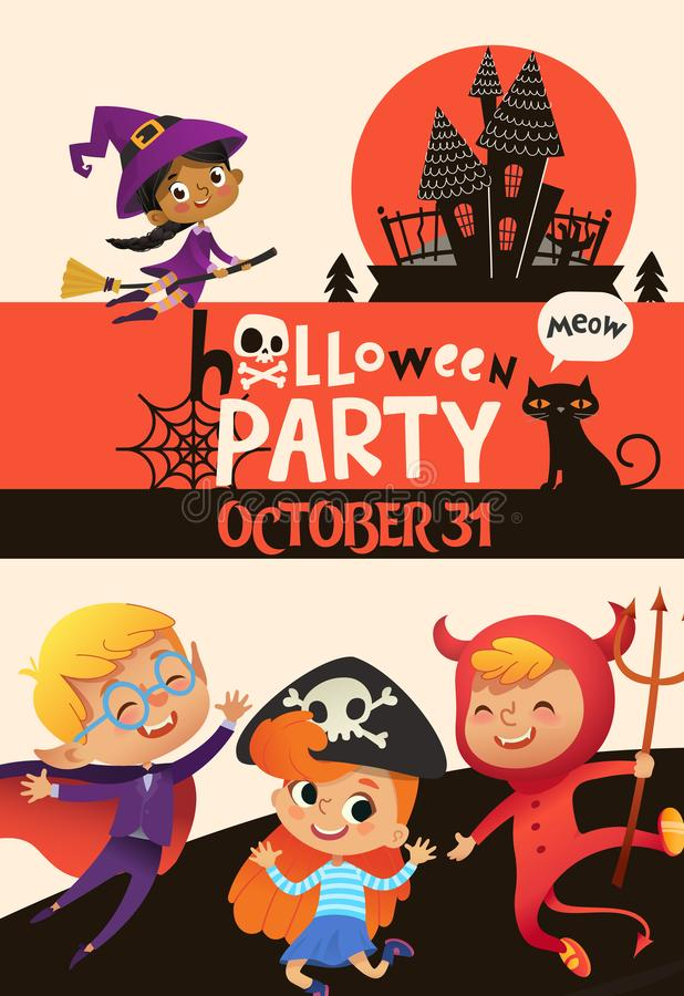 Halloween party invitation template with adorable joyful kids dressed in festive costumes of witch, vampire, devil and stock illustration