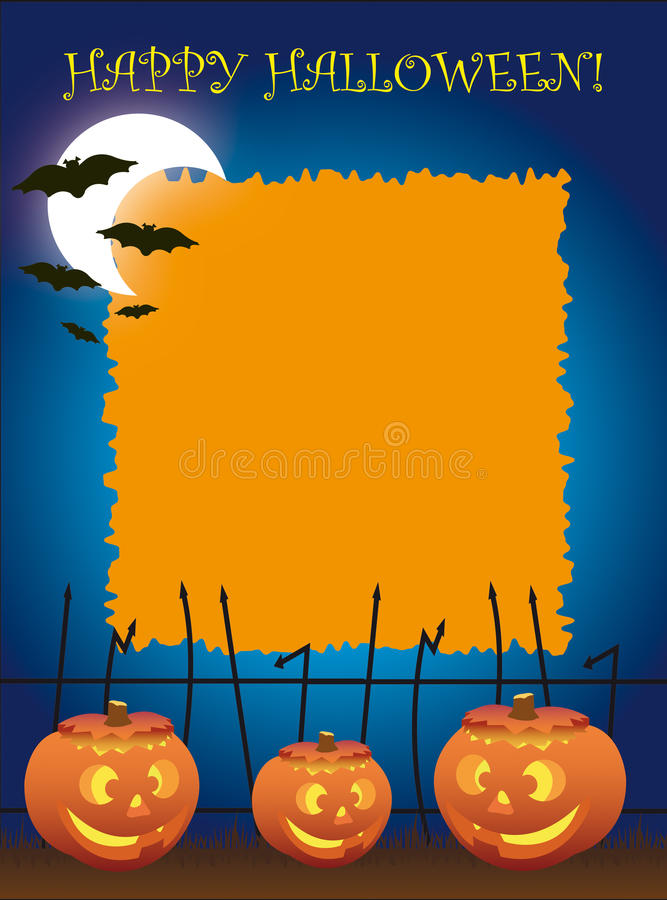 Download Halloween Party Invitations Stock Illustration   Illustration Of  Blue, Pumpkins: 12159050