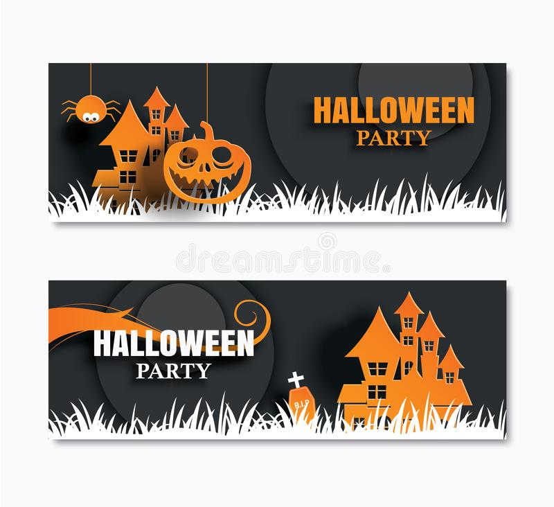 Halloween party invitations banner and greeting cards. Paper art. Background stock illustration