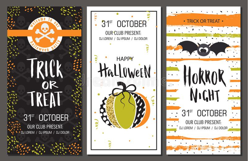 Halloween party invitations. Vertical banners set. Vector illustration royalty free illustration