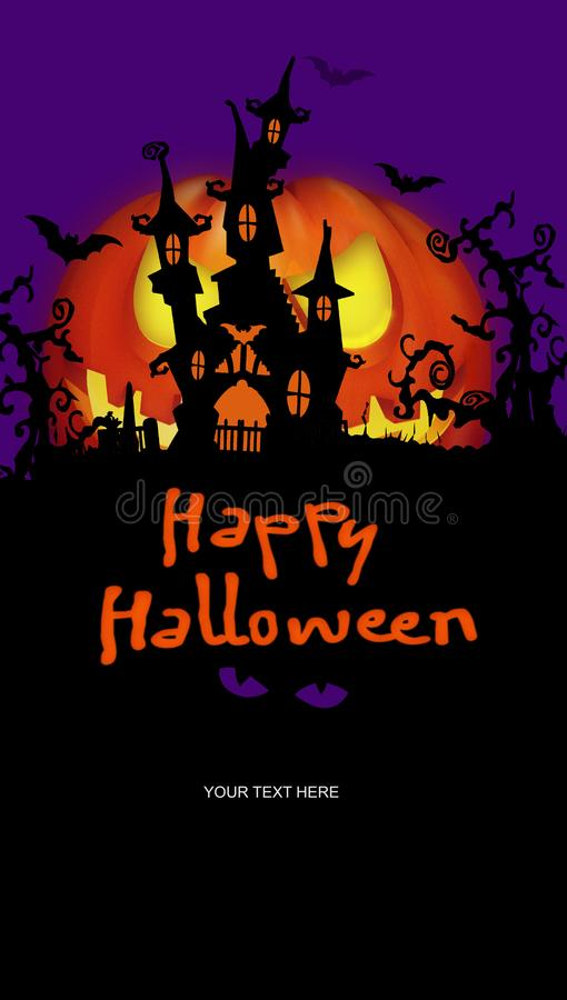 Halloween Party Invtiation Creepy Woods stock illustration