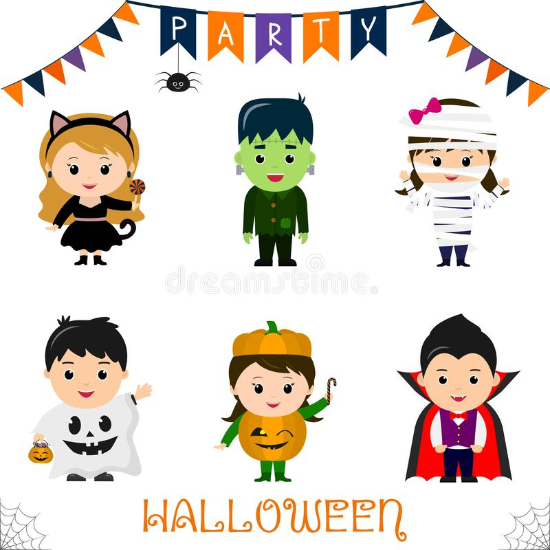 Halloween party kids character set. Children in a colorful Halloween costumes a black cat, a monster, a mummy, a ghost, a pumpkin, stock illustration