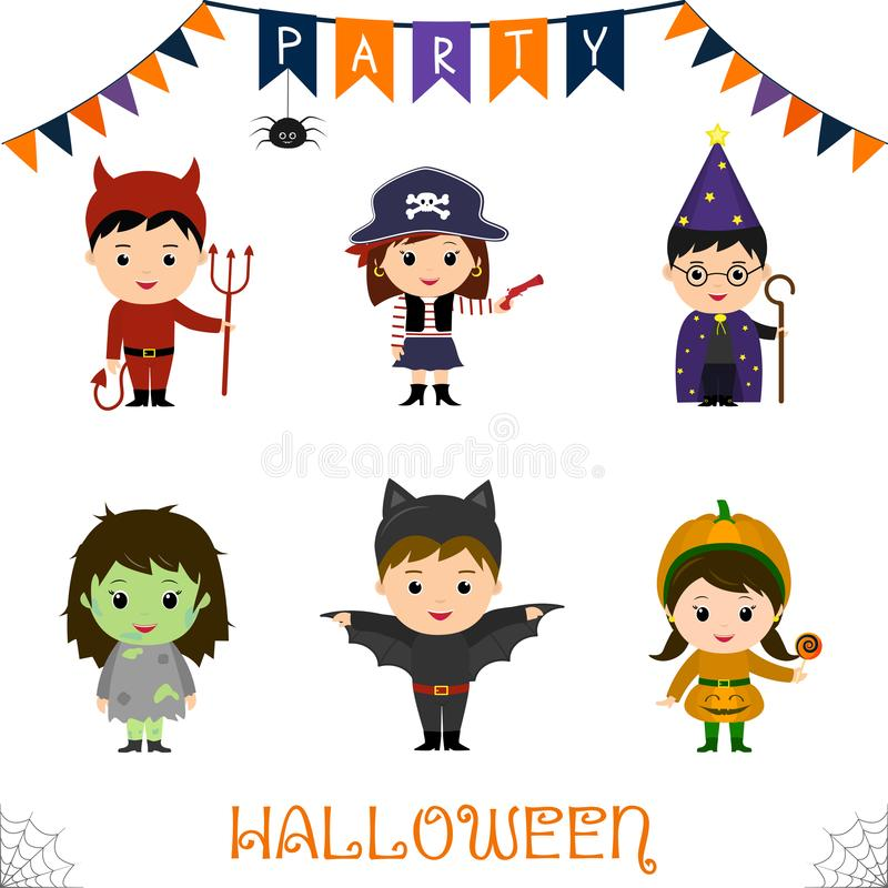 Halloween party kids character set. Children in a colorful Halloween costumes devil, pirate, pistol, astrologer, staff, zombie, ba royalty free illustration