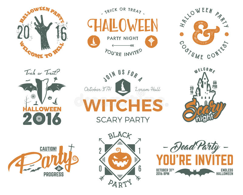 Halloween 2016 party labels templates with scary symbols - zombie hand, witch hat, bat, pumpkin and typography elements stock illustration