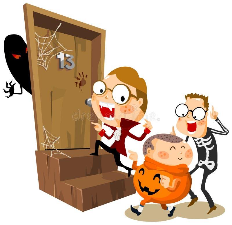 Halloween-Party mit Kostüm stock abbildung