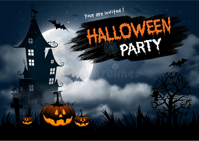 Halloween party. Halloween night background with pumpkin, haunted house and full moon. Flyer or invitation template for Halloween party. Vector illustration