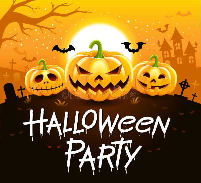 Halloween party on night time background vector illustration
