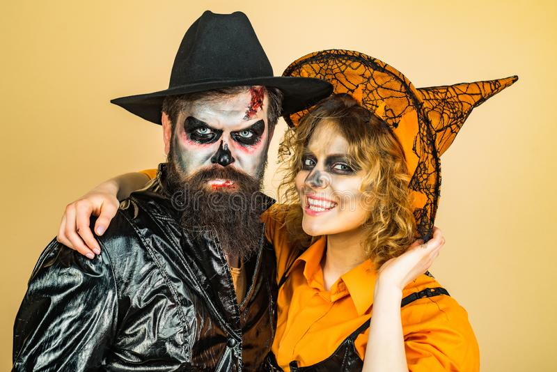Halloween Party people. Halloween Party couple. Halloween wide poster for Happy Halloween celebrate. Halloween Party people. Halloween Party couple. Halloween royalty free stock image