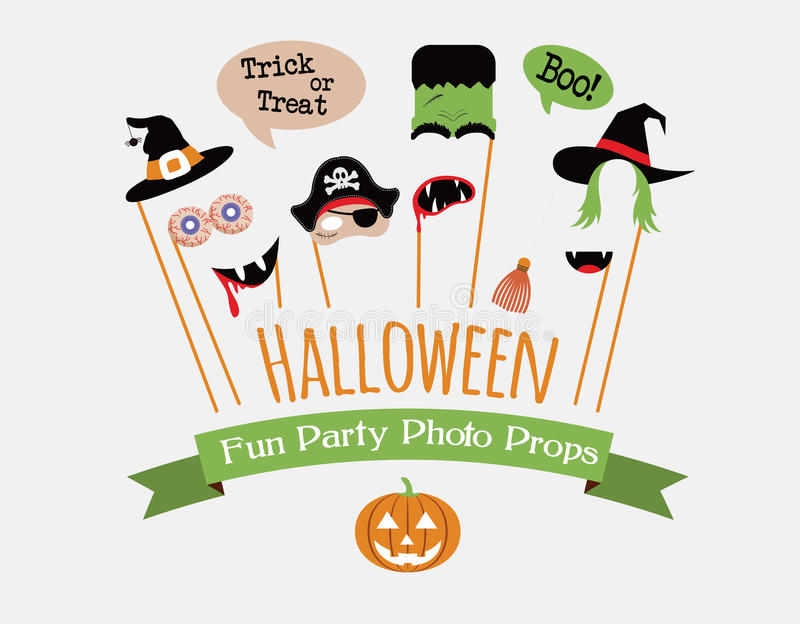 Halloween party photo booth collection. Holiday illustration royalty free illustration