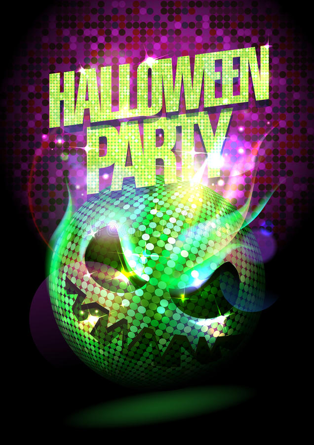 Halloween party poster with burning spooky disco ball stock illustration