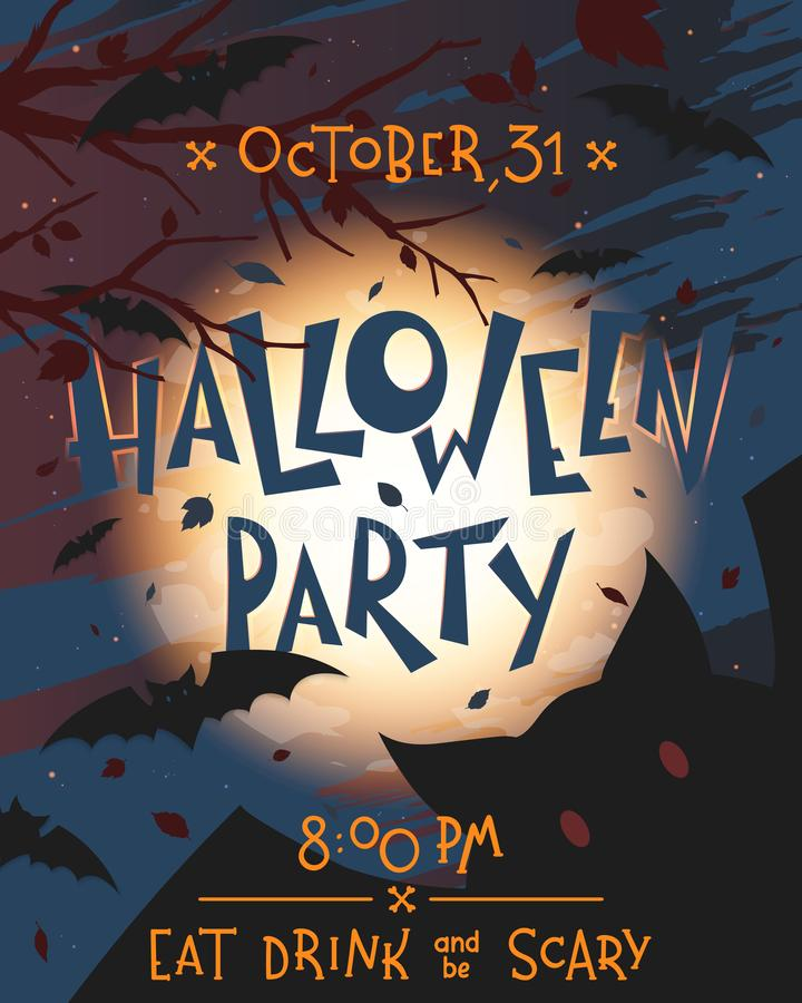 Halloween party poster with grunge background,flying bats,full moon and dead trees royalty free illustration