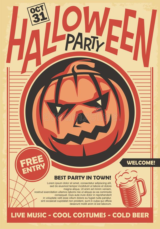 Halloween party poster and invitation card design royalty free illustration