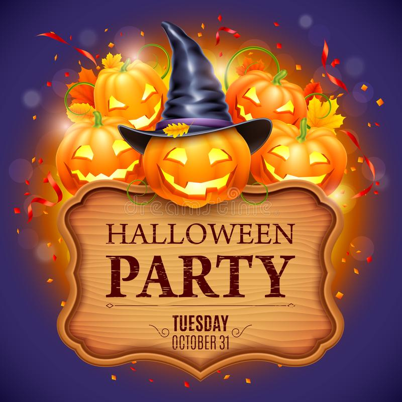 Halloween Party Poster. With smiling pumpkins, witch hat and autumn leaves vector illustration