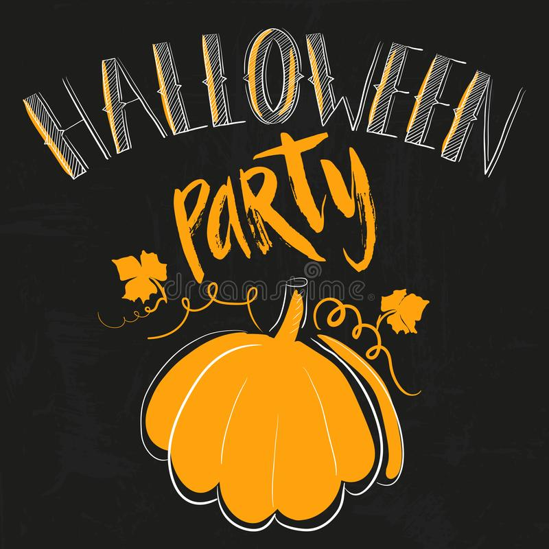 Halloween party simple card with orange pumpkin and lettering by hand quote on black grunge background drawn by hand vector illustration