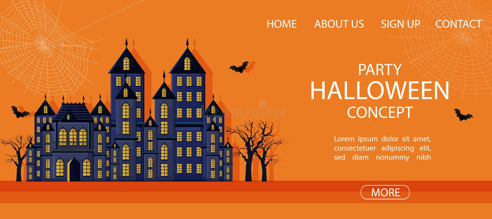 Halloween party site banner with big castle and spider web. Orange background vector. Flat style vector illustration
