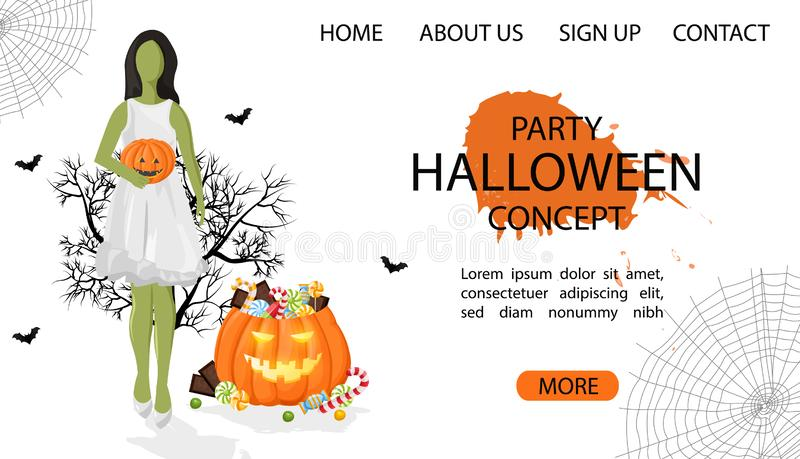 Halloween party site banner with green woman. Wearing white dress, pumpkin full of candy and spider web. White Background vector. Flat style royalty free illustration