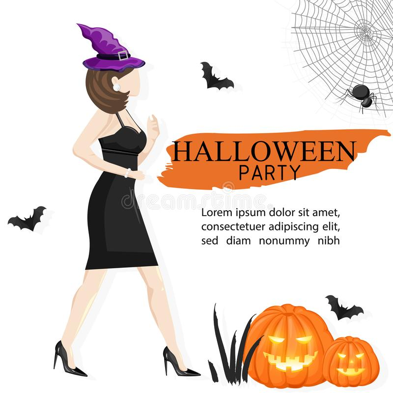 Halloween party site banner with woman wearing witch hat. Halloween party site banner with woman wearing black dress and witch hat, pumpkin, bats and spider web vector illustration
