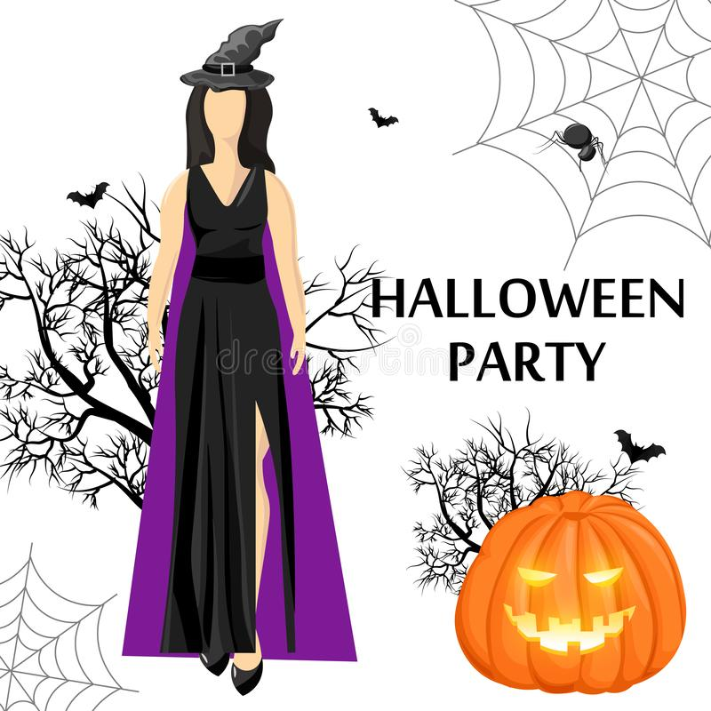 Halloween party site banner with woman wearing witch hat. Halloween party site banner with woman wearing black dress and witch hat, pumpkin, bats and spider web royalty free illustration