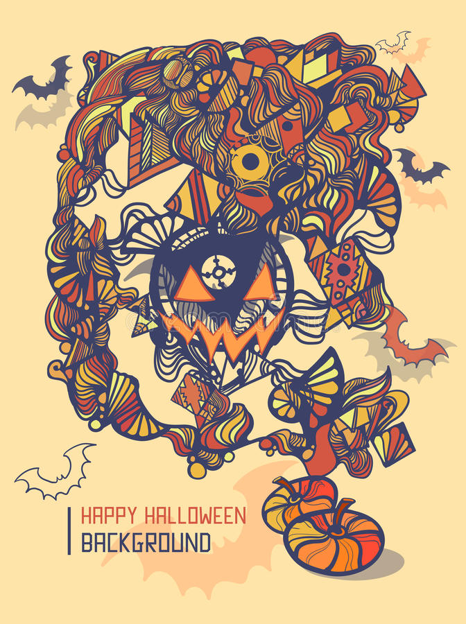 Halloween party template, doodle style. royalty free illustration