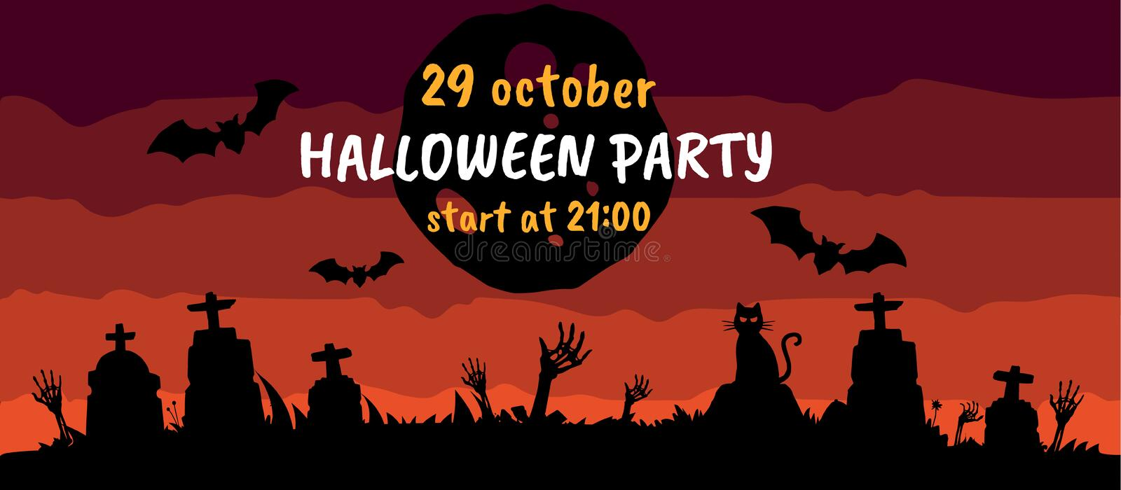 Halloween party ticket, banner, card or poster template design vector illustration