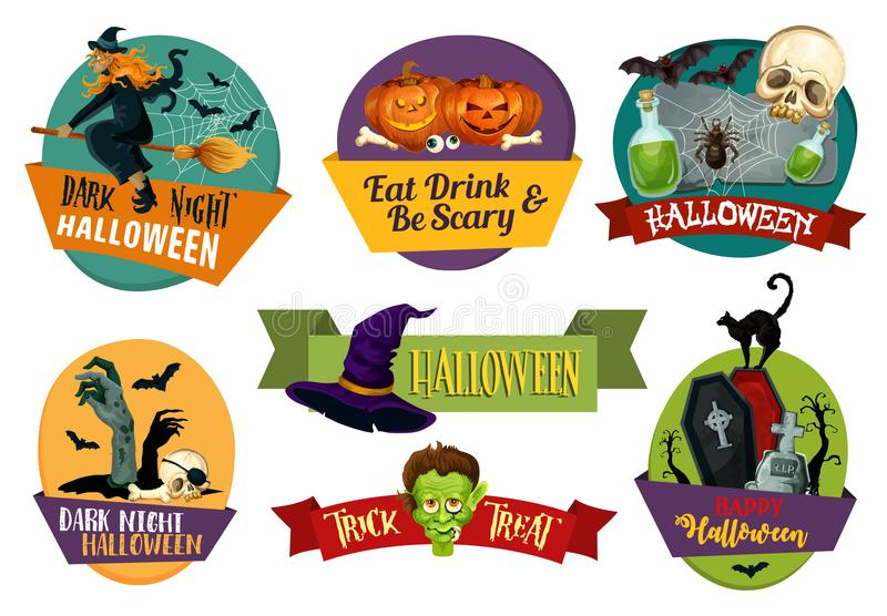 Halloween vector icons for party greeting stock illustration