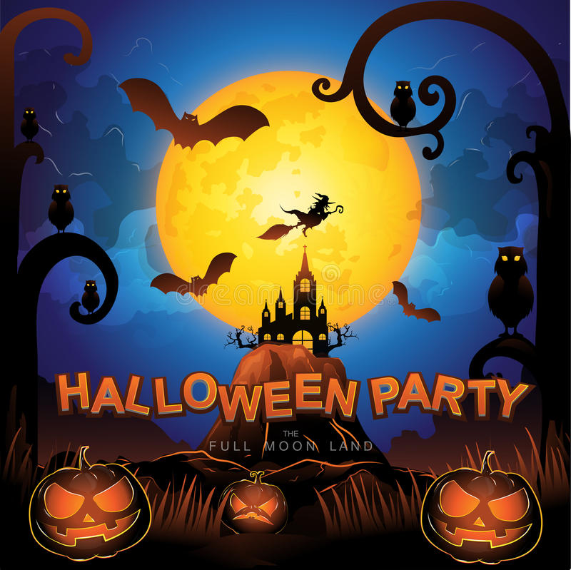 Free Halloween Party Vector Concept Full Moon Land Royalty Free Stock Image - 65004746