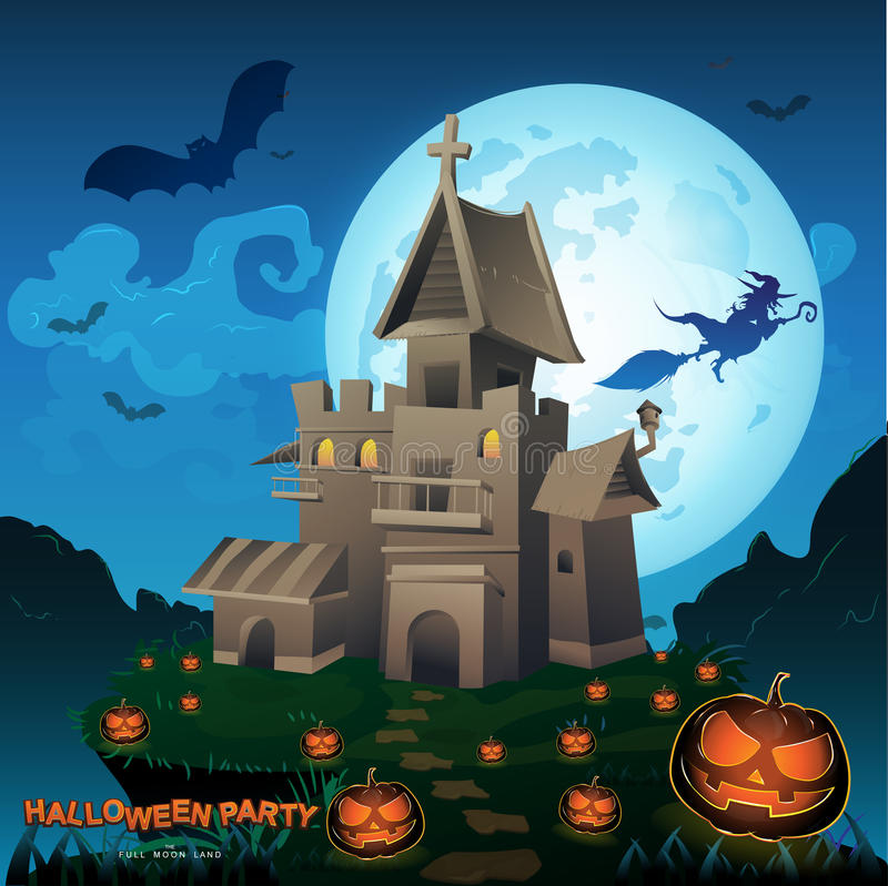 Free Halloween Party Vector Concept Full Moon Land Stock Image - 65455711