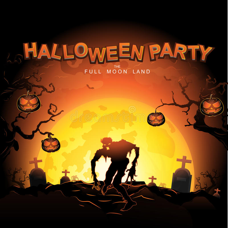 Free Halloween Party Vector Concept Full Moon Land Royalty Free Stock Photography - 65455917