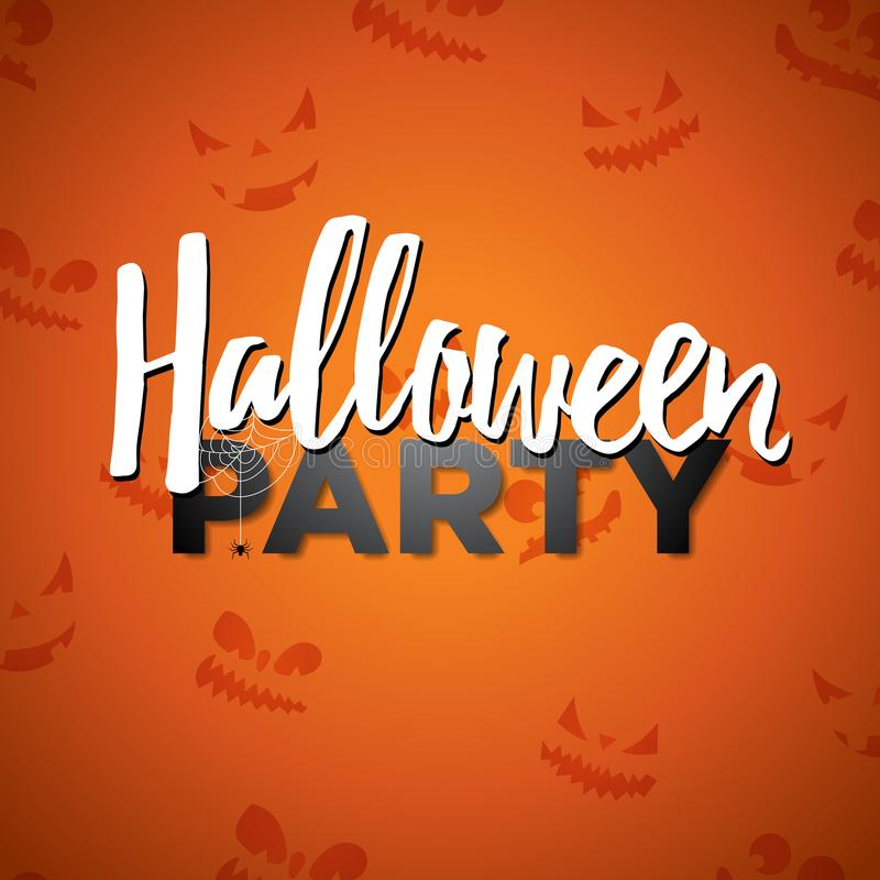 Halloween Party vector illustration with calligraphy writing on orange background. Holiday design with abstract scary stock illustration