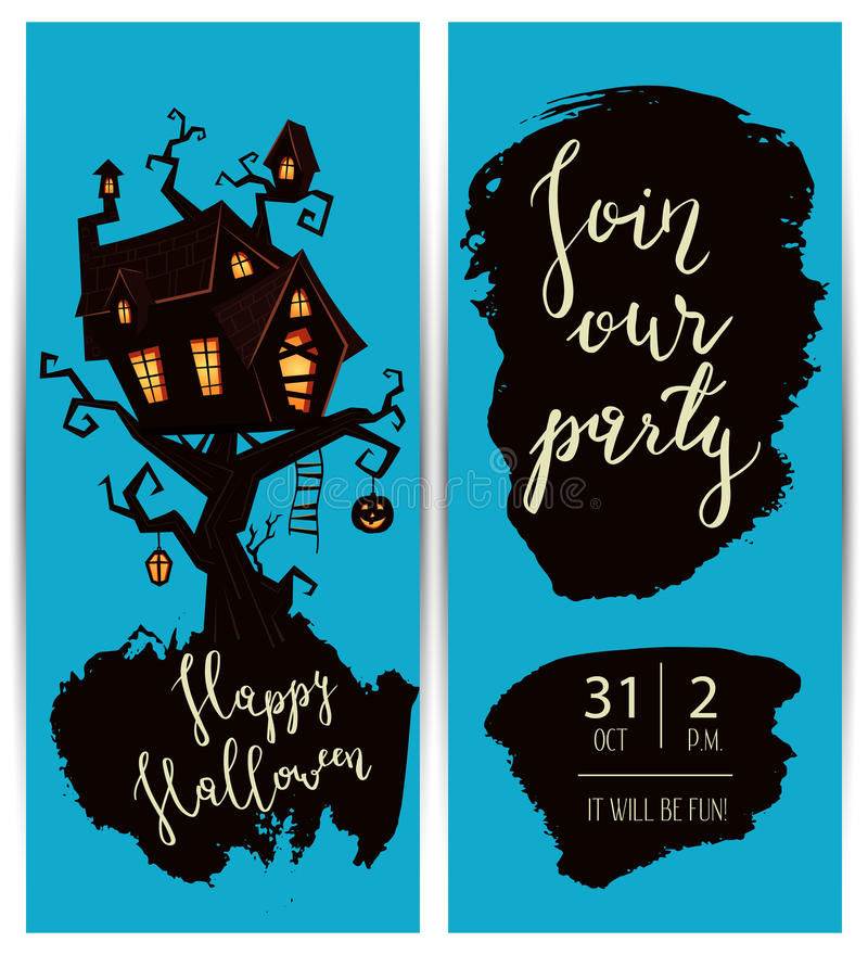 Happy Halloween Night Party Flyers With Spooky Castle On Tree, Vector  Illustration On Blue Background. Halloween Design Template With Haunted  House And ...