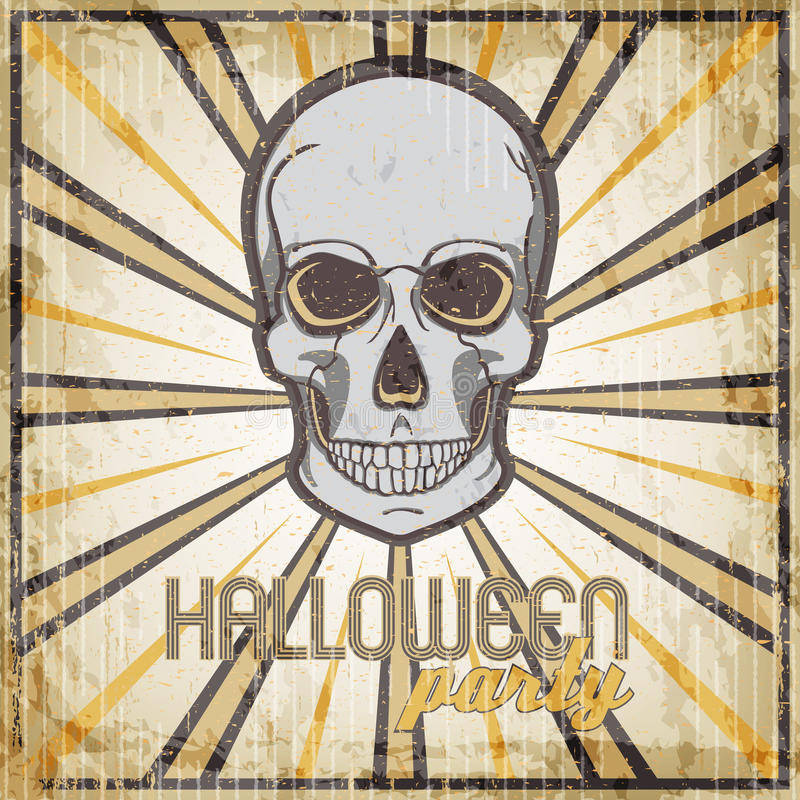 Halloween Party vintage design template for card, poster, flyer with skull. royalty free illustration
