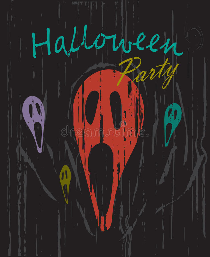 Halloween party vintage grunge background vector stock illustration
